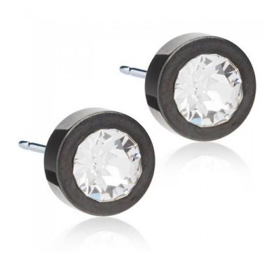 Blomdahl Black Titanium Grand Bezel Crystal ørering