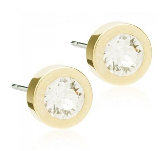 Blomdahl Grand Bezel Crystal ørering - Gylden kant