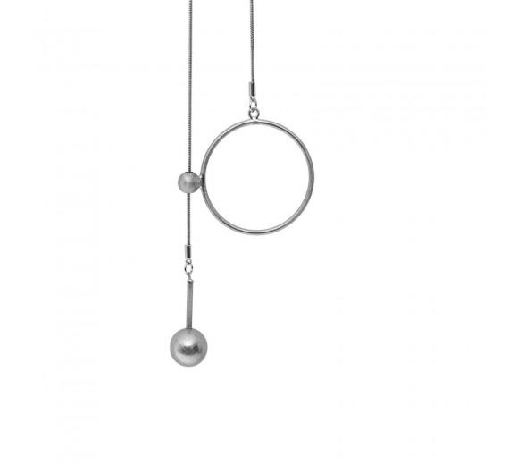 Dansk Copenhagen Tabitha Circle Dot Hanger Halskæde Rhodiumbelagt