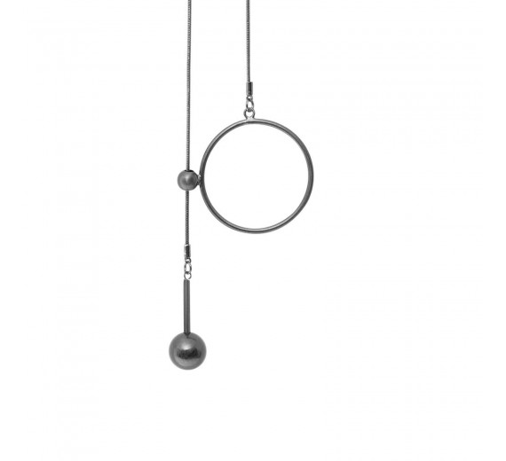 Dansk Copenhagen Tabitha Circle Dot Hanger Halskæde Hematite Platin