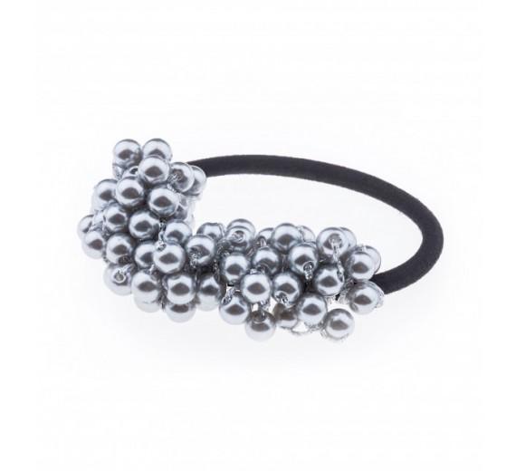 Petite Affaire hårelastik med perler - grå
