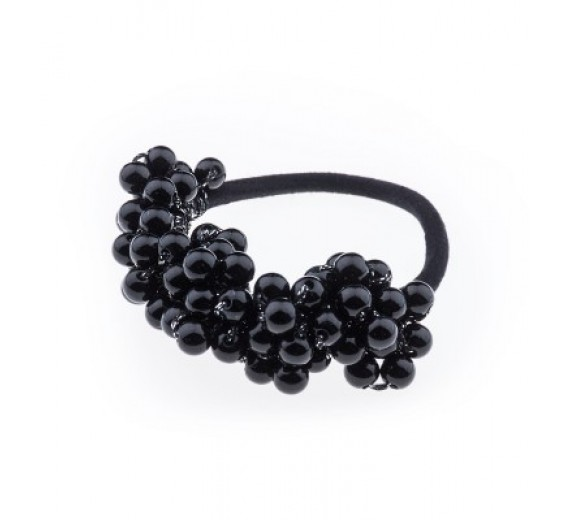 Petite Affaire hårelastik med perler - sort