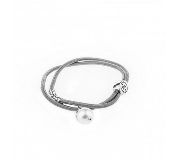 Petite Affaire grå hårelastik med sølv perle