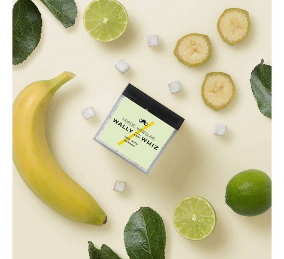 Wally and Whiz gourmet vingummi Lime med banan, cube 140 g