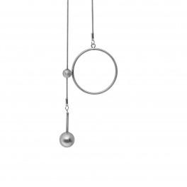 Dansk Copenhagen Tabitha Circle Dot Hanger Halskæde Rhodiumbelagt-20