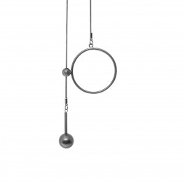 Dansk Copenhagen Tabitha Circle Dot Hanger Halskæde Hematite Platin-20