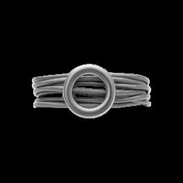 Dansk Copenhagen Tatiana Læder Ring Rhodium str.M-20
