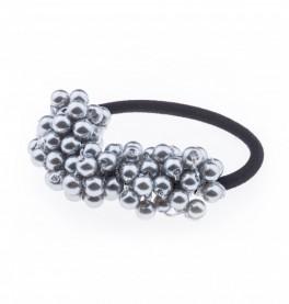 Petite Affaire hårelastik med perler grå-20