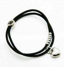 Petite Affaire sort hårelastik med sølv hjerte-20