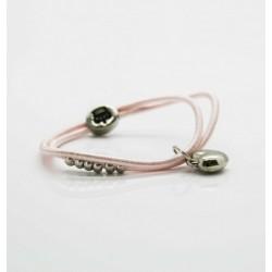 Petite Affaire sart rosa hårelastik med sølv hjerte